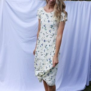 Vintage Cream Floral Dress with Blue Flowers